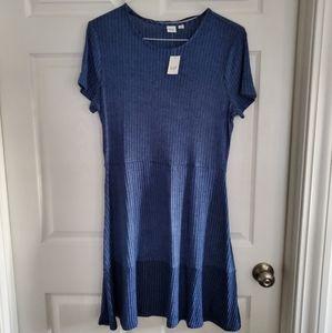GAP Knit Flutter Dress in Deep Cobalt